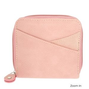 NWT Pink Faux Leather Mini Zip Wallet